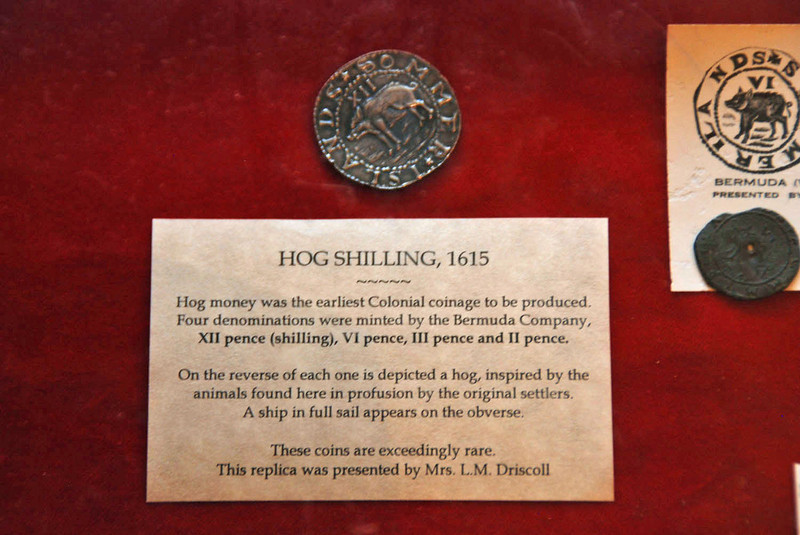 A hog shilling on display in the Historical Society Museum.