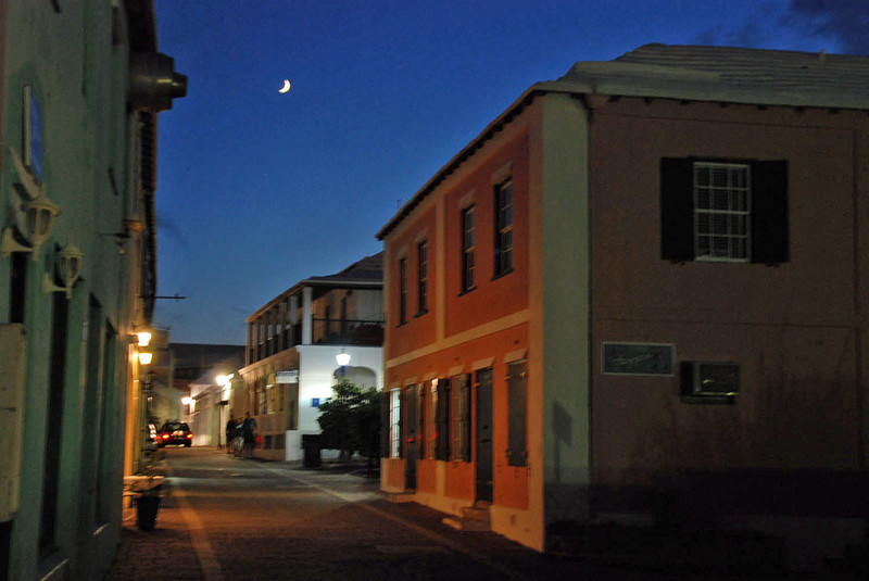 A view of Water Street at night in St. George.