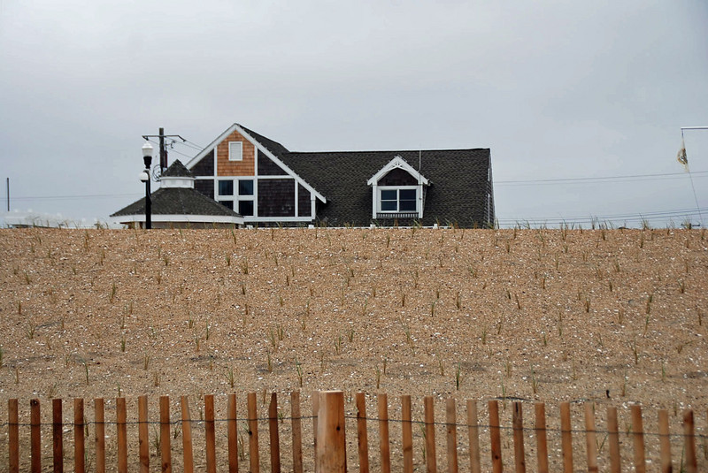 The lifeguard house and stage area as viewed from the beach.