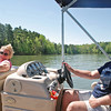 Shirley and Dennis Kelly on their pontoon boat.