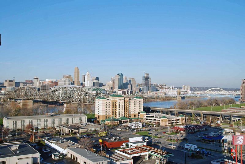 The Cincinnati skyline viewed from our hotel room.