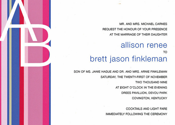 Brett and Allison Finkleman's wedding invitation.