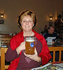 Saint Jean holding a liter of beer at the Hofbrauhaus Beer Hall in Las Vegas.