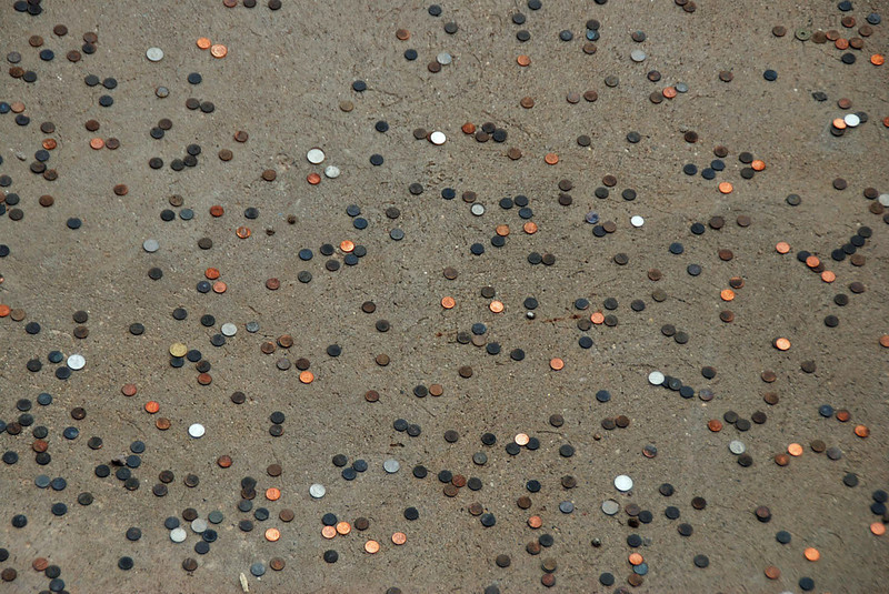 Coins thrown by tourists for good luck at the Hoover Dam.