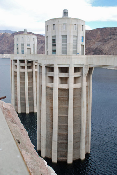 Nevada intake towers at the Hoover Dam.