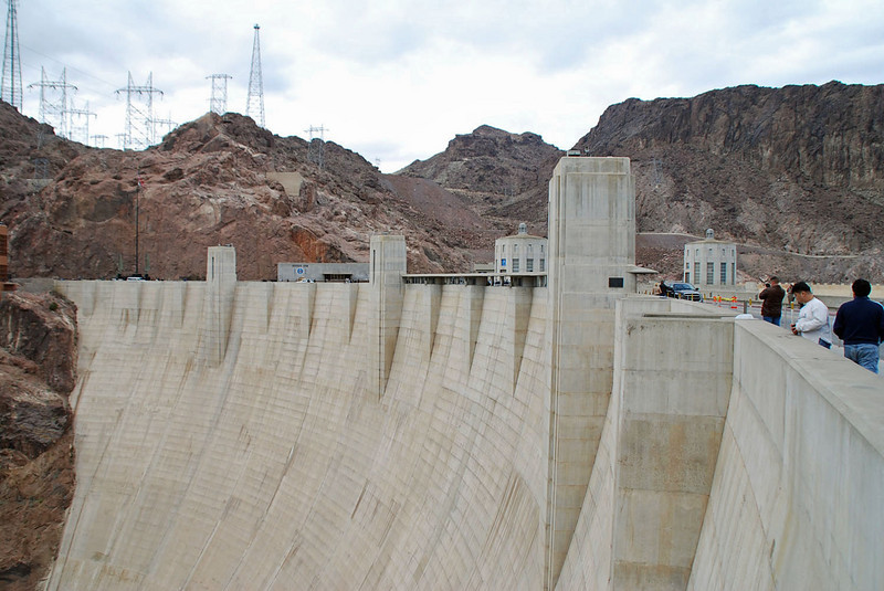 Hoover Dam, looking towards the Nevada power lines.