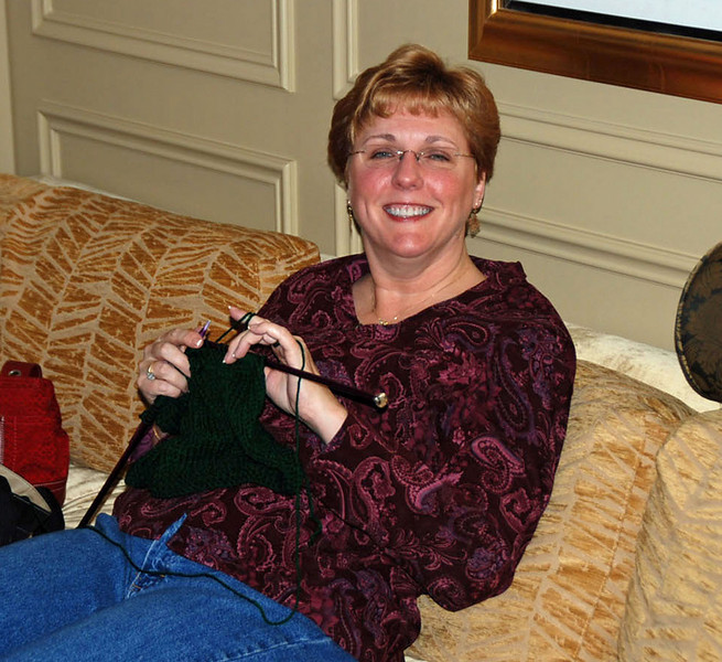 Jean in our living room at the Venetian Hotel.