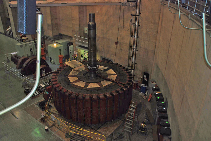 The roter and stator of one of the turbines being worked on inside the power plant at Hoover Dam.