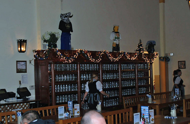 A wall of beer steins at the Hofbrauhaus Beer Hall.