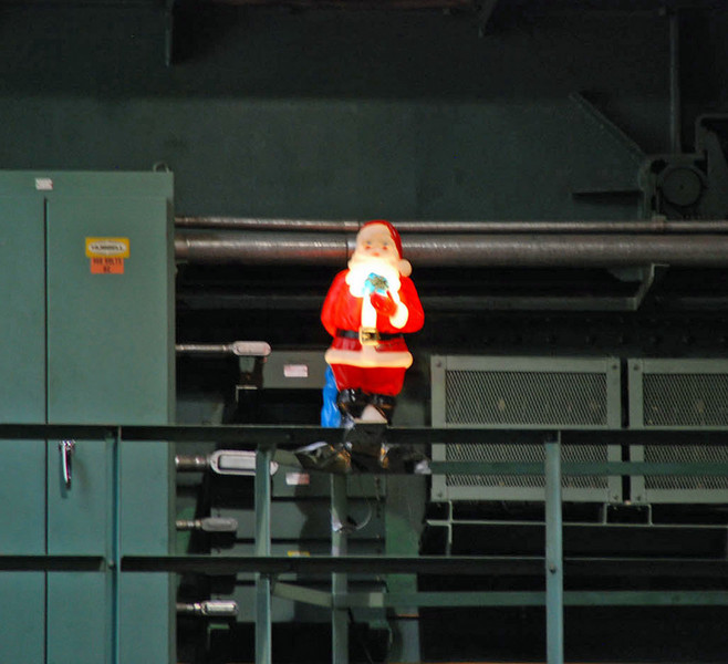 Santa is illuminated by power generated by the Colorado River.