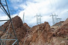 Power lines leave the Hoover Dam power plant.