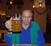 Ray with his liter of hefe weizen in the Beer Hall at Hofbrauhaus German Restaurant, Las Vegas.