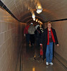 Jean in the access tunnel during the powerplant tour.