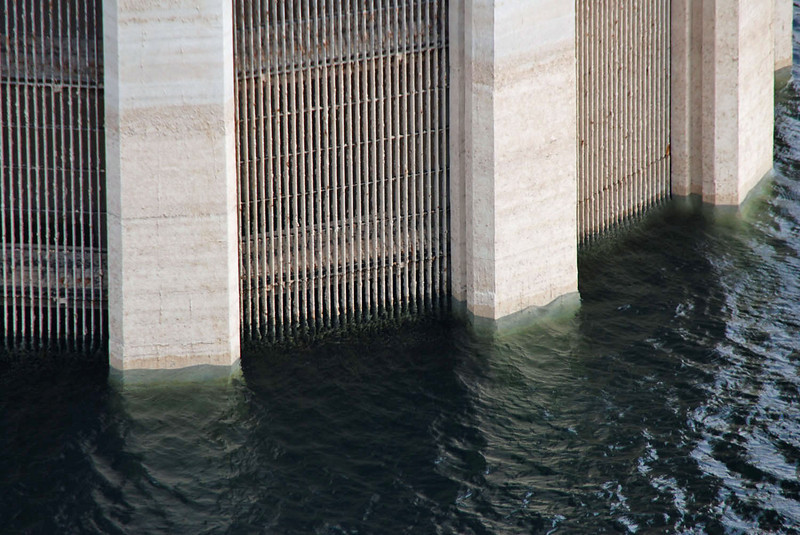 The intake towers are 395 feet tall, most of which is under the water of Lake Mead.