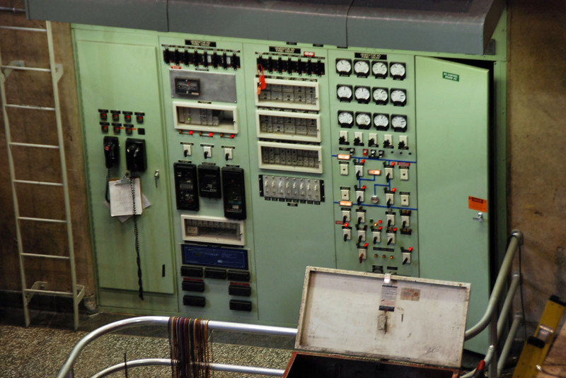 The old turbine control stations are being replaced by newer electronics.