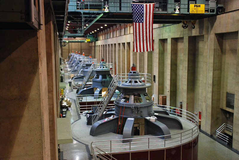 The turbines in the Arizona side of the Hoover Dam powerplant.