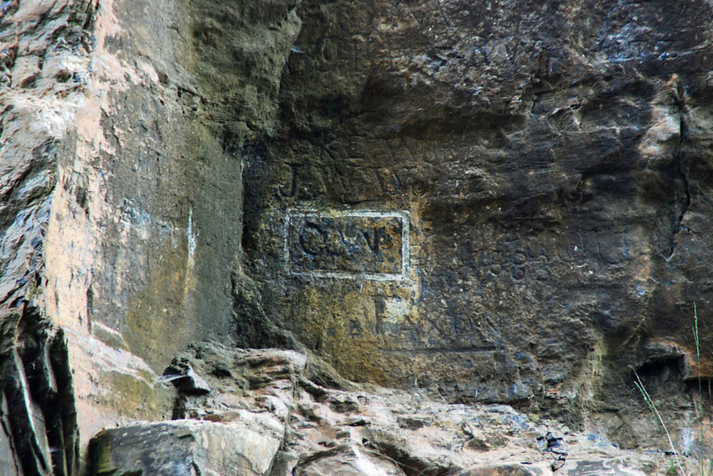 George Washington engraved his initials in the rock.