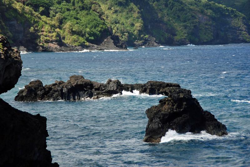 The volcanic seacoast of Maui.