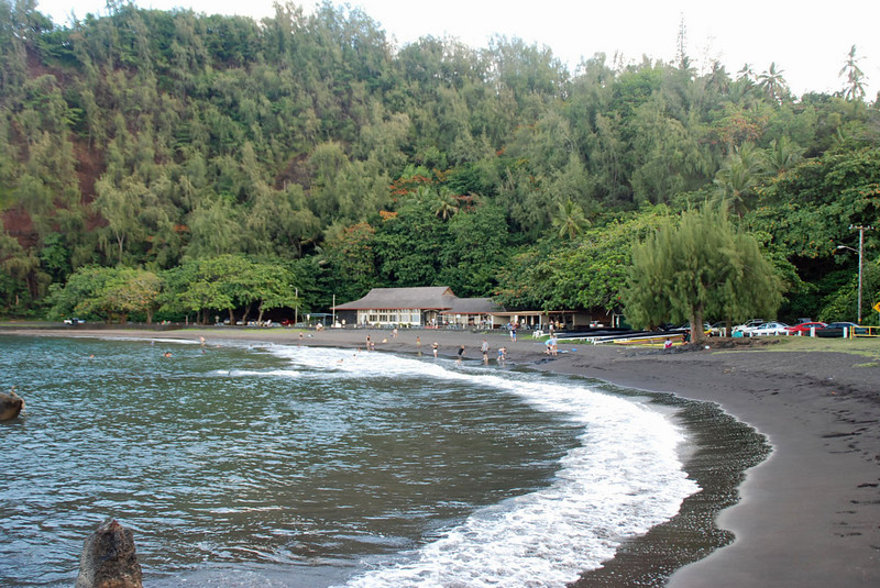 Hana Bay's black sand beach.