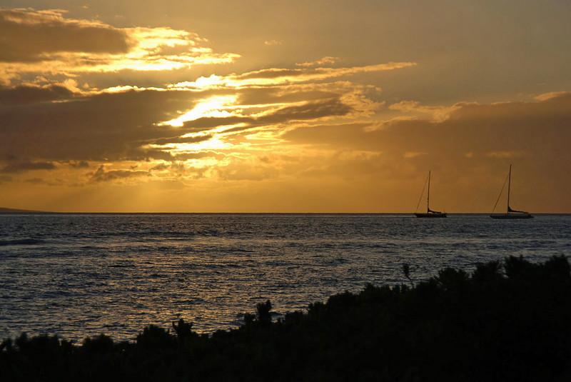 Golden sunset at Lahaina.
