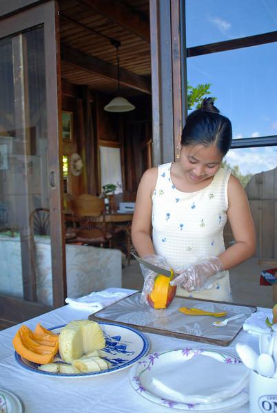 Inside the papaya.