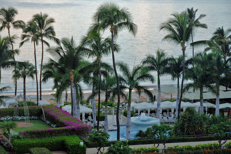 The pool, cabanas and beach at Four Seasons Maui.