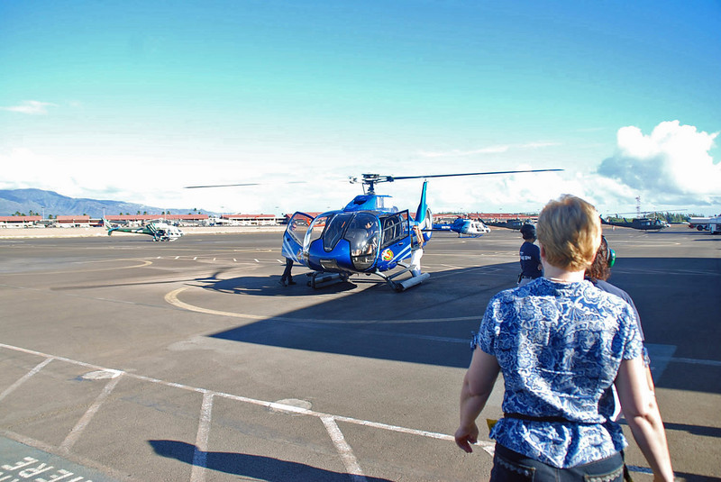 Jean walking towards the Blue Hawaiian helicopter for our tour.