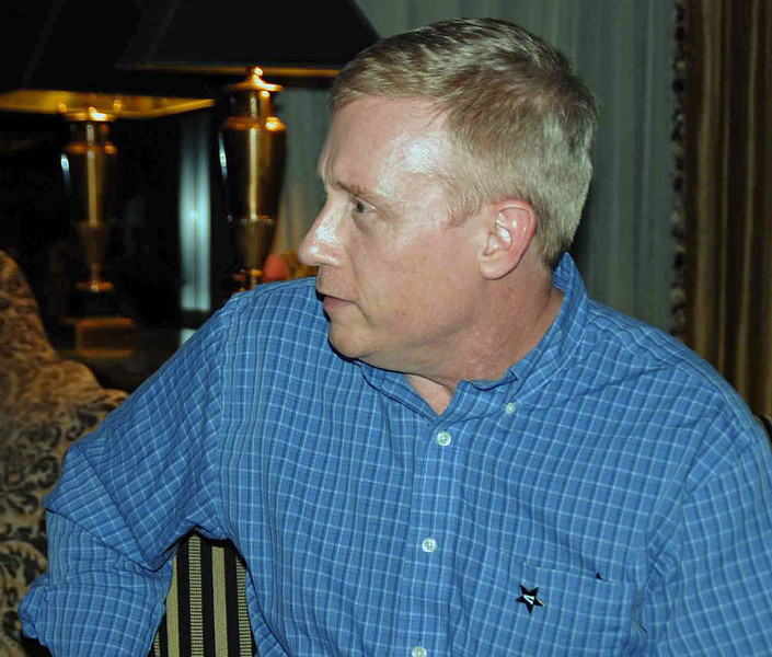 Fencing club alumnus John Turnley at the Friday evening get-together.