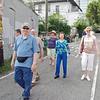 Walking to breakfast on Saturday morning.  From left: Ray Stone, Chuck Stewart, Harry Stone, Corie Huggins, Melinda Stone, Carole Fernandez, Steve Block, Jean Finkleman, Doug Huggins.