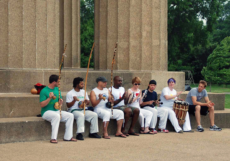 Musicians performing at the Parthenon.