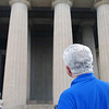 Steve Block looks up at the Parthenon.