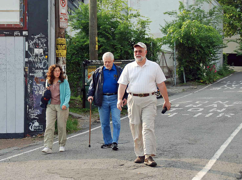 Walking to breakfast on Saturday morning.  From left:, Carole Fernandez, Steve Block, and Doug Huggins.