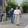 Walking to breakfast on Saturday morning.  From left:, Carole Fernandez, Steve Block, and Doug Huggins.