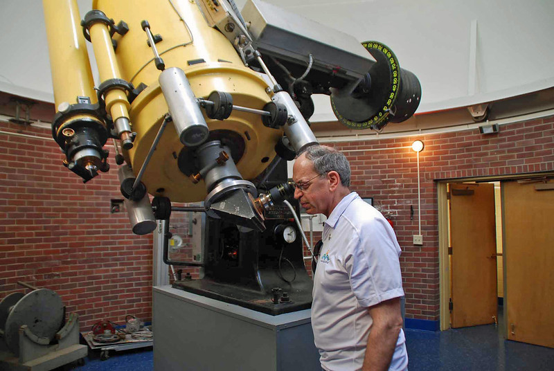 Ray looking through the 24-inch Seyfert Telescope at Dyer Observatory.  (He never looked through it while an undergraduate, only used photography and spectroscopy with the primary mirror.)