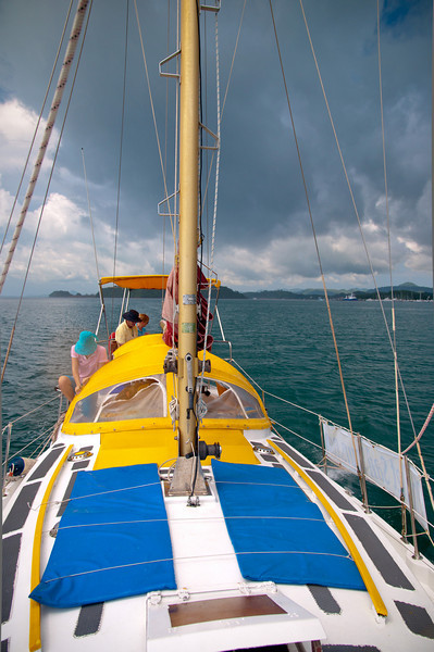 Our sailboat heading to the famous Phangan Bay
