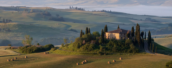 Sunrise on the villa IL Belvedere - East of San Quirico d'Orcia.  Tuesday, 06/05/2012.