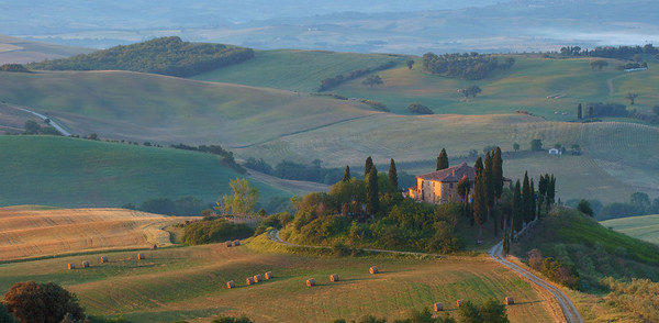 Sunrise on the villa IL Belvedere - East of San Quirico d'Orcia.  Wednesday, 06/06/2012.