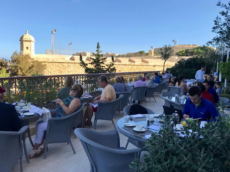 Breakfast on hotel terrace
