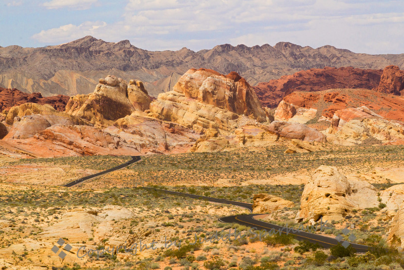 Rainbow Vista Road ~ This section of road cuts through the area of Valley of Fire called Rainbow Vista.  The colors of the sandstone formations were beautiful.