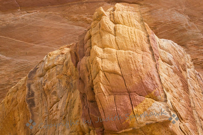 Rock of Pink and Gold ~ A sandstone formation photographed in Valley of Fire in Nevada.