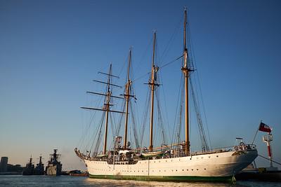 Chilean navy training ship Esmeralda moored in Valparaiso.