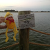 But Flat was afraid when he saw this sign. He had no desire to meet alligators close up!