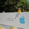 """Flat went with the Joyces to see the Apple Campus. They had lunch in """"One Infinite Loop"""" but didn't take him there. He was happy just to sit on the sign . . ."""