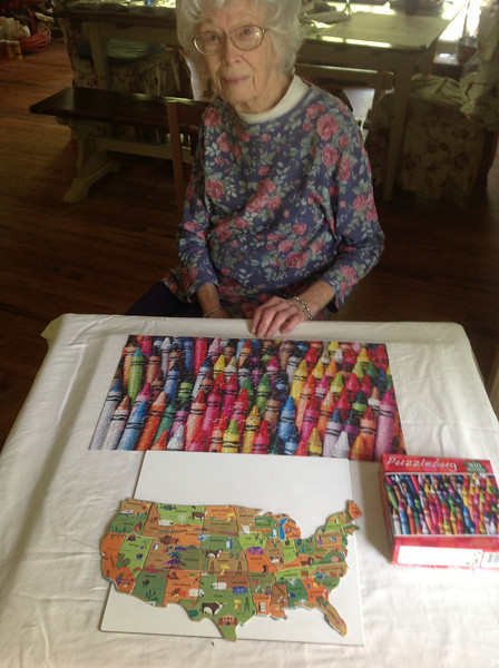 Mom enjoys doing puzzles, and did most of this one herself.