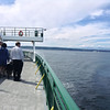 Walking toward the stern, looking back at the Kitsap Peninsula