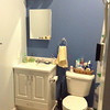Brenda painted Mom's bathroom light and dark blue. Tub and shower are to the right. The vanity and fittings are a gift from Stan and Kara Sanders, from JCAC. They were remodeling and gave it to us. Thanks, Stan and Kara!