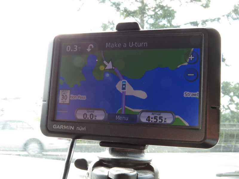After leaving Vancouver, we drove back down toward Seattle but turned west at Burlington, taking highway 20 down to Whidbey Island. Our first stop was Deception Pass. As you can see from the GPS, early pioneers thought it was a pass, but it turned out to be two peninsulas and an island.