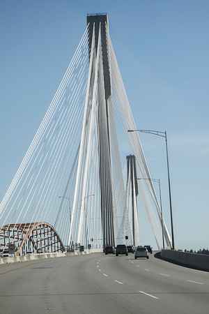The new Port Mann Bridge (the old one still visible while it is being dismantled) over the Fraser River.