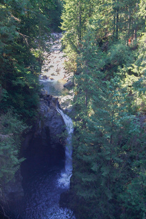 Waterfall from the suspension bridge in Lynn Canyon Park in North Vancouver.