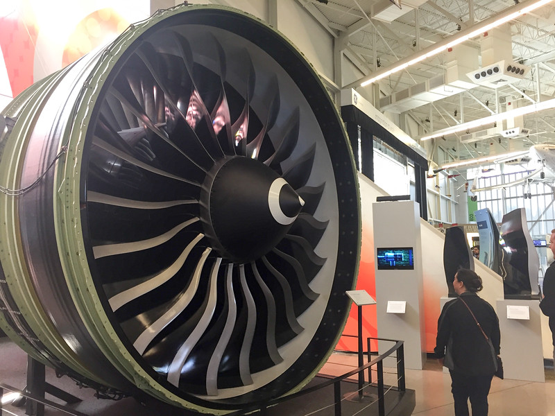 The front of a GE90 jet engine.  It is ENORMOUS!  Almost large enough to fit a 737 inside.  These monsters can produce up to 115,000 pounds of force and can be found on 777-300's and 777-200LR's (I think those are the two...the 200ER's have smaller engines from RR and PW...I think...